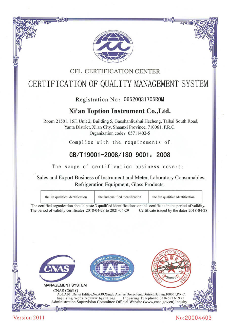 TOPTION ISO certification