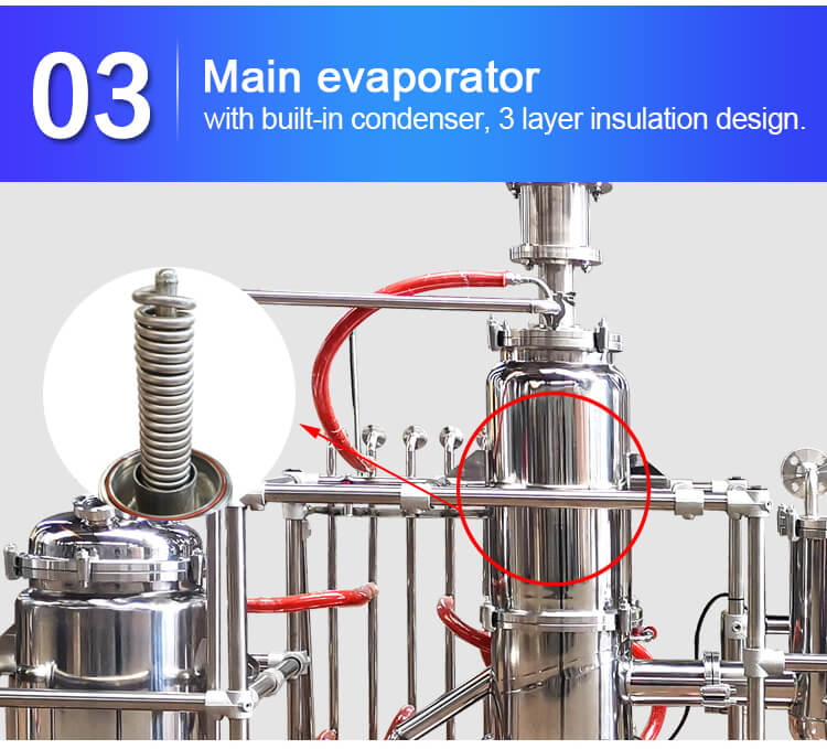short path molecular distillation evaporator