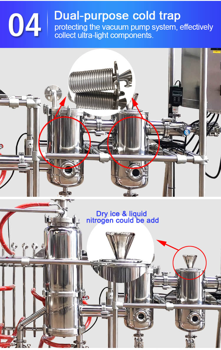 short path molecular distillation cold trap