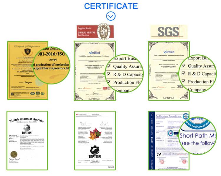 wiped film evaporator certification
